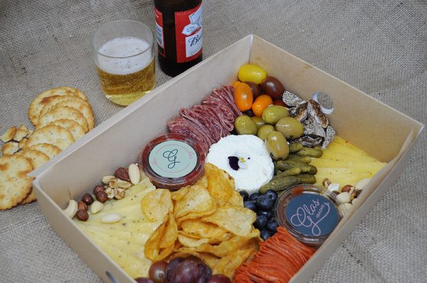 The Lads Platter with beer